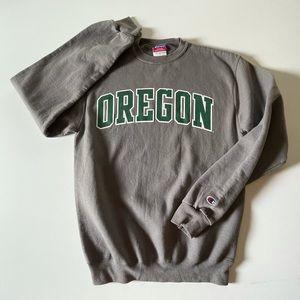 Grey & Green Oregon Ducks Champion Pullover Sweatshirt S